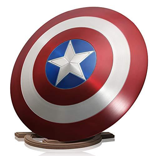 ZYER Los Vengadores Marvel Capitán América Disfraz de Metal Shield +Soporte de Madera Adulto Uno Tamaño 1: 1 Apoyos de Película